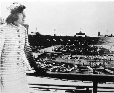 Eunice Kennedy Shriver looking out at the 1968 Special Olympic Games
