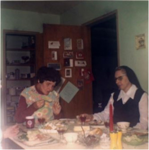 Rosie and Sister Paulus enjoy a meal
